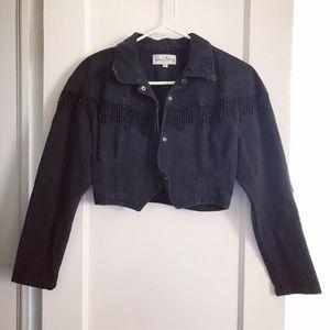 Black cropped denim jacket with fringe - vintage